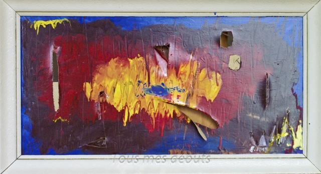 Huile sur toile déchirée et encadrement, dos en contreplaqué; 90 x50 cm l'encadrement compris, 2013